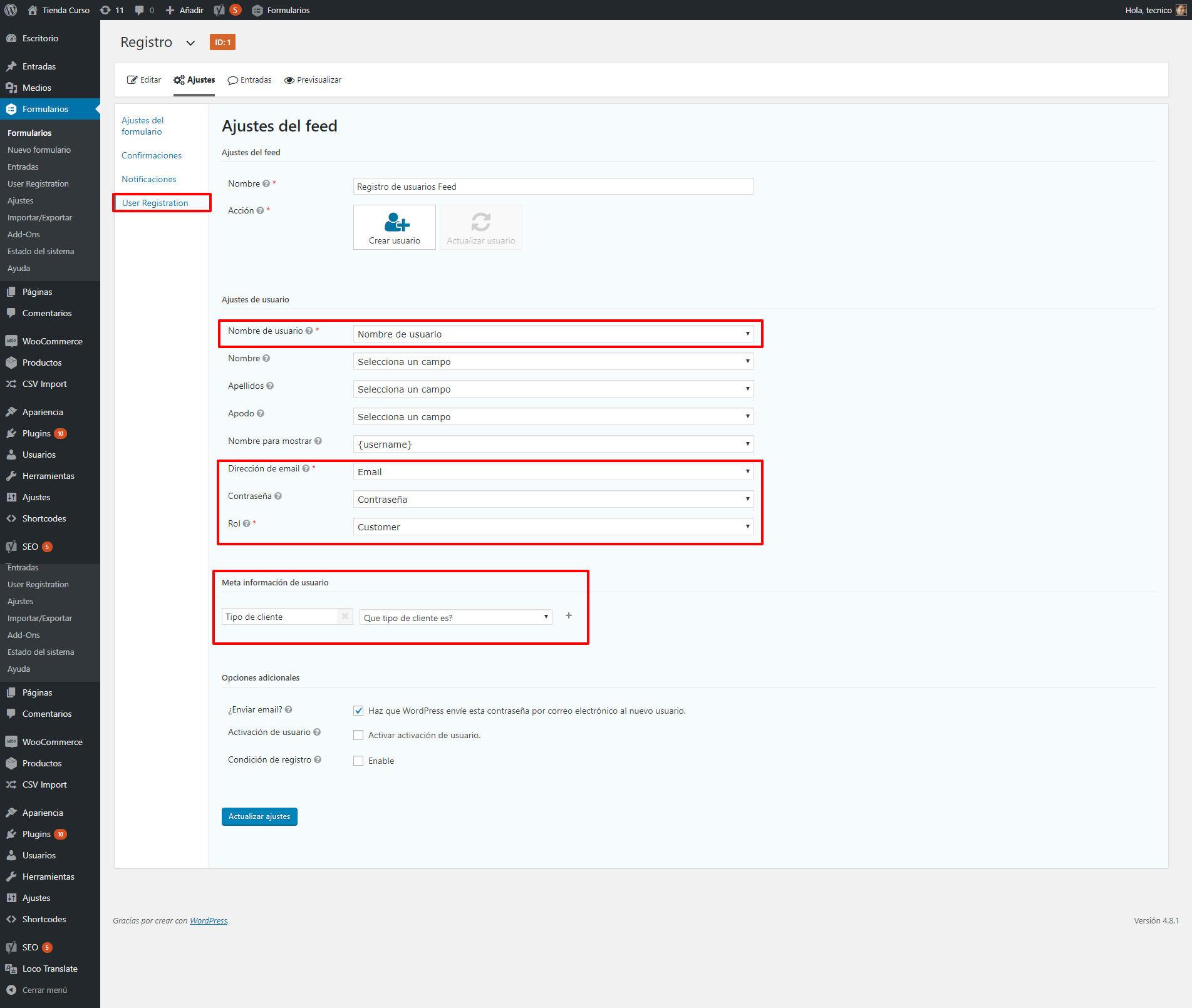configurar formulario para registro personalizado woocommerce